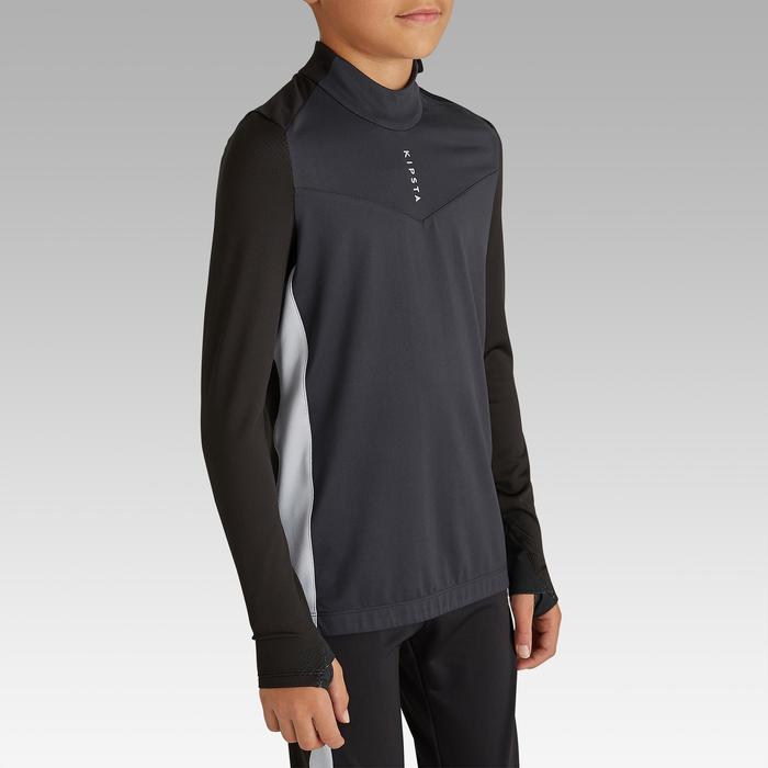 Sweatshirt voor voetbal kinderen 1/2 rits T900 zwart/donkergrijs
