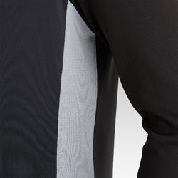Sweat de football d'entrainement enfant 1/2 ZIP T900 noir et gris foncé