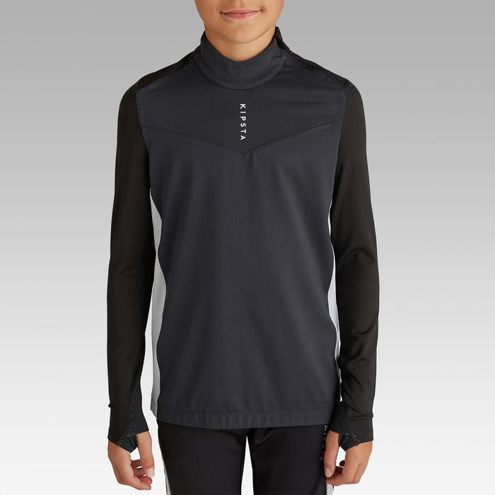 Sweat-Shirt de football enfant 1/2 ZIP T900 noir et gris foncé