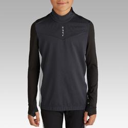 Sweatshirt T900 1/2 Zip Kinder schwarz/dunkelgrau