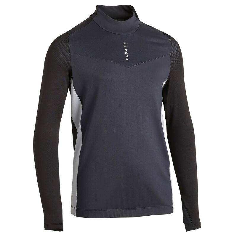 Kids' 1/2 Zip Football Sweatshirt T900 - Black/Grey