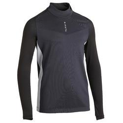 Sweatshirt T900 1/2 Zip Kinder schwarz/grau