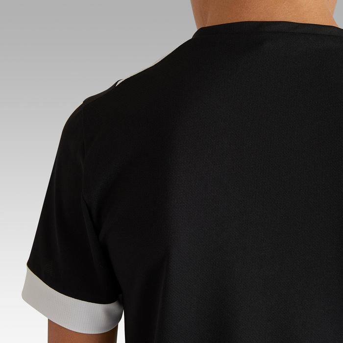 兒童款短袖足球上衣F500-黑色/白色