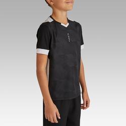 Voetbalshirt korte mouwen voor kinderen F500 zwart en wit