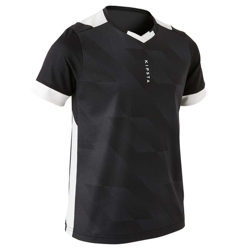TEXTILE VREME CALDĂ JUNIORI Fotbal - Tricou F500 Alb/Negru Copii  KIPSTA - Decathlon pentru scoli