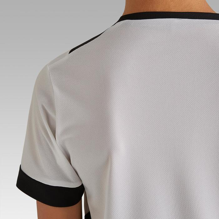 Fußballtrikot kurzarm F500 Kinder weiß/schwarz