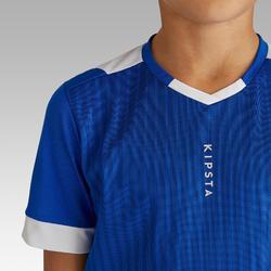 Fußballtrikot kurzarm F500 Kinder blau/weiß