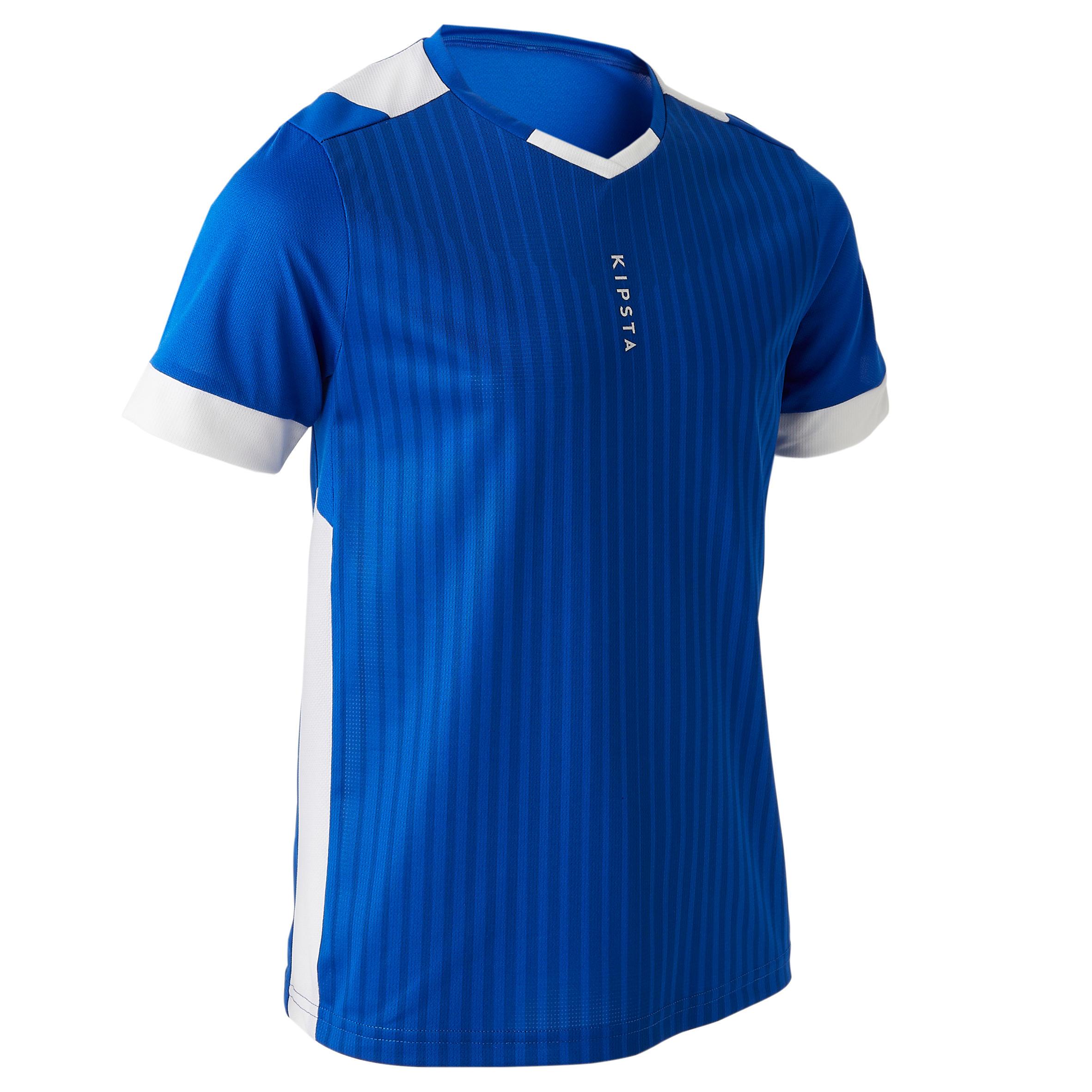 Playera de fútbol júnior manga corta F500 azul y blanco