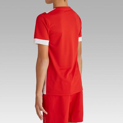 Maillot de football enfant manche courte F500 rouge et blanc