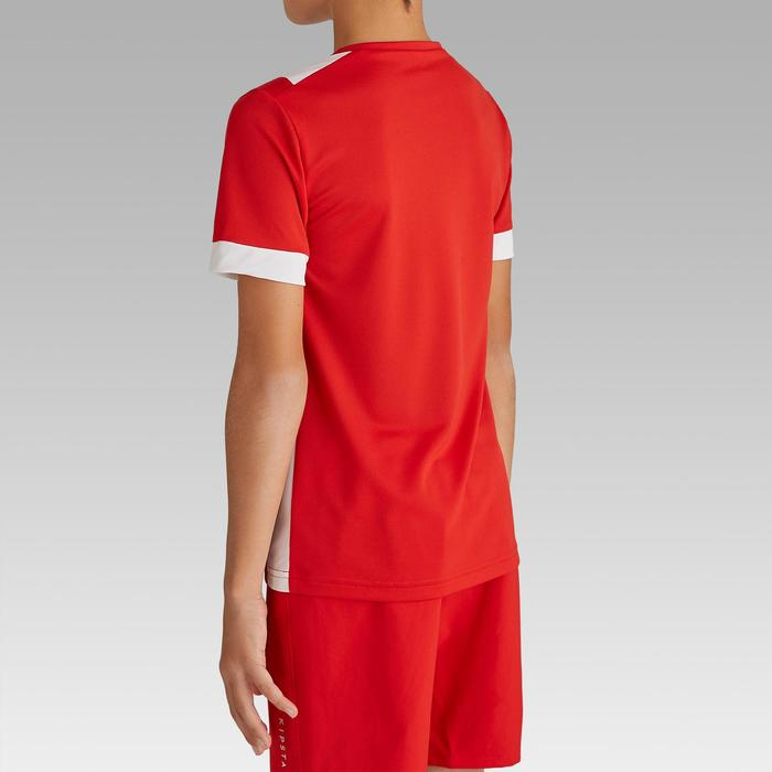 兒童款短袖足球上衣F500-紅白配色