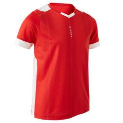 兒童款短袖足球上衣F500-紅色/白色