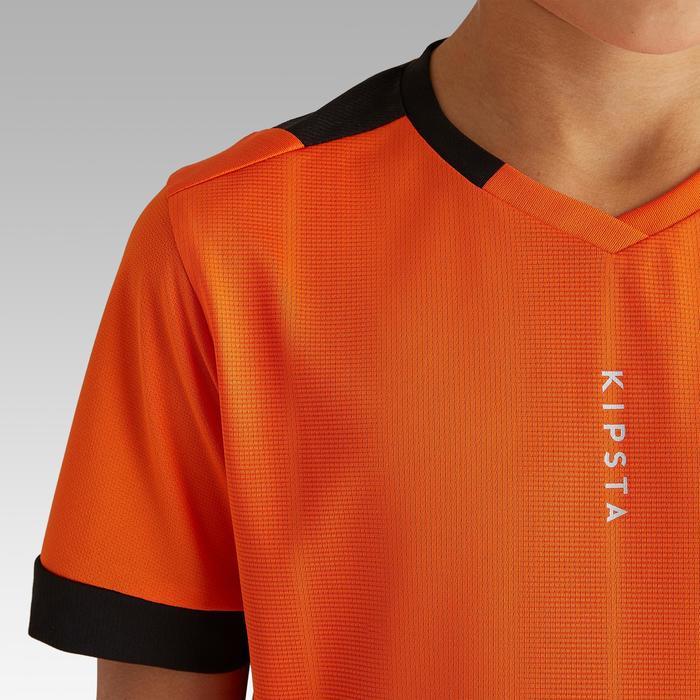 Maillot de football enfant manche courte F500 orange et noir