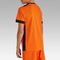 Fußballtrikot kurzarm F500 Kinder orange/schwarz