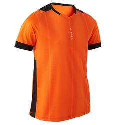 兒童款短袖足球上衣F500-橘色/黑色