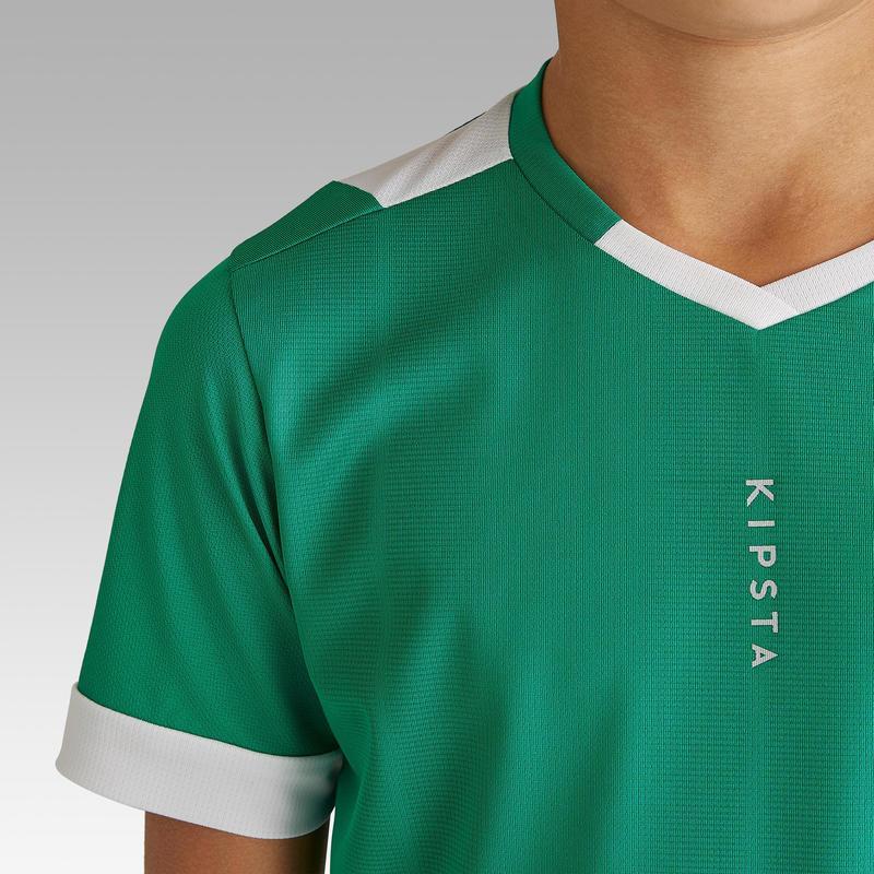 code promo 34d21 dcb46 Textile Match et Entrainement - Maillot de football enfant manche courte  F500 vert et blanc