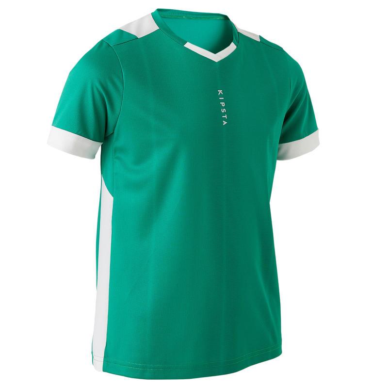 design professionnel vente chaude authentique nouveaux prix plus bas Textile Match et Entrainement - Maillot de football enfant manche courte  F500 vert et blanc
