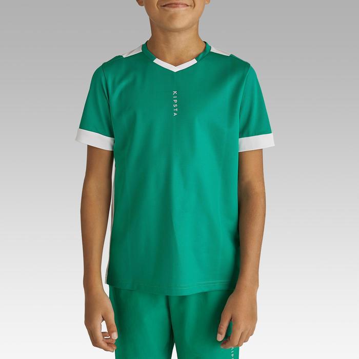 Voetbalshirt korte mouwen voor kinderen F500 groen en wit