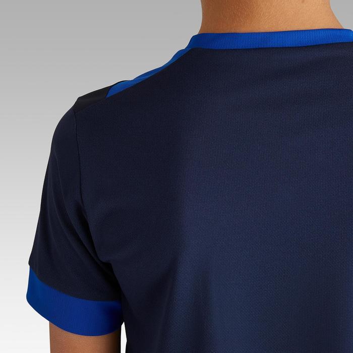 Maillot de football enfant manche courte F500 marine et bleu