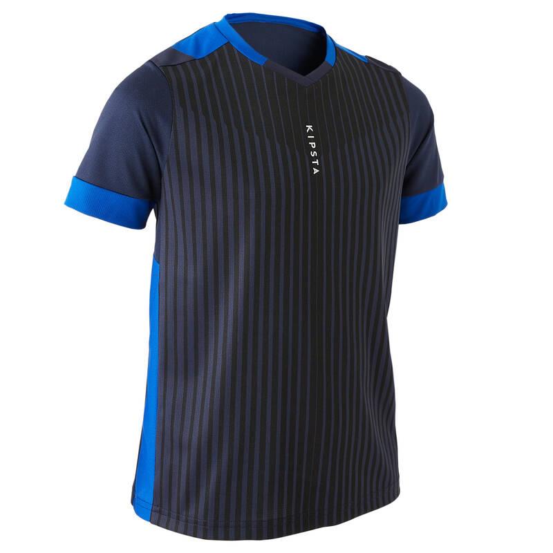 DĚTSKÉ OBLEČENÍ DO TEPLÉHO POČASÍ Fotbal - DRES F500 TMAVĚ MODRÝ KIPSTA - Fotbalové oblečení
