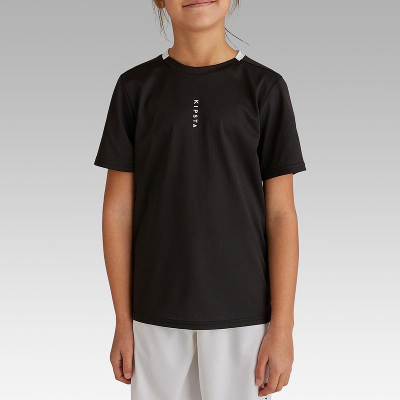 9a46ce8ea59 Детская футболка F100 для игры в футбол - Черная  купить детскую ...