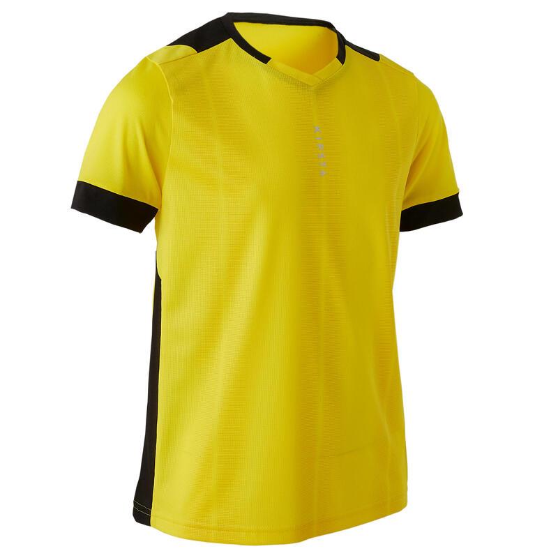 Kids' Short-Sleeved Football Shirt F500 - Yellow