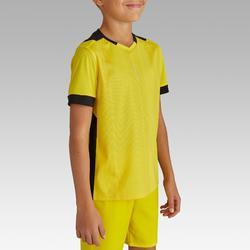 Voetbalshirt korte mouwen voor kinderen F500 geel en zwart