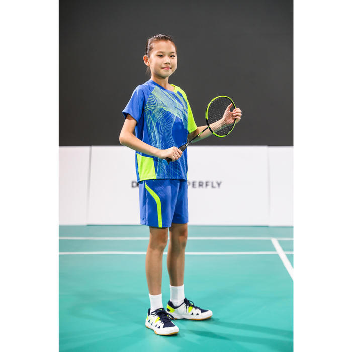 Short de badminton Junior 560 - Bleu/Jaune