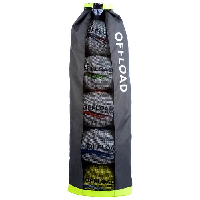 Ballenzak voor 5 rugbyballen buisvormig kaki