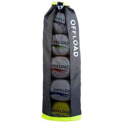 Bolsa para 5 Balones de Rugby gris y amarilla