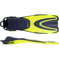 Aletas regulables de buceo SUBEA SCD 500 con correa elástica Amarillo / azul