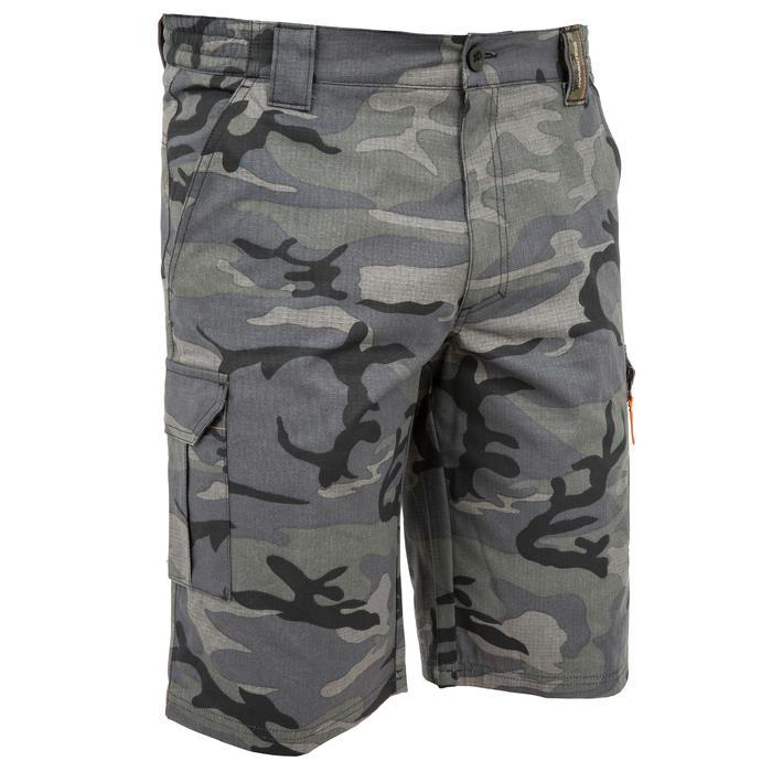 Bermudashorts 500 Jagd Woodland Camouflage schwarz