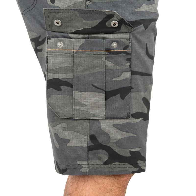 500 woodland camouflage Bermuda hunting shorts, black