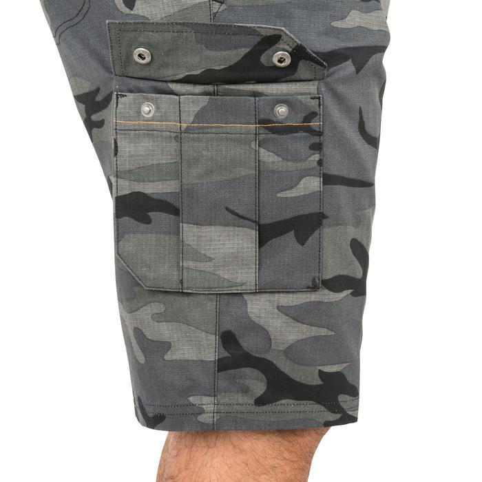 Bermudashorts 500 Jagd Woodland camouflage grau