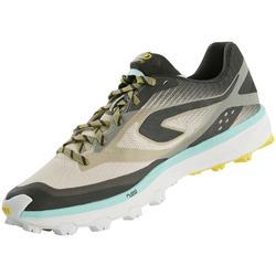 女款越野跑鞋Kiprun Race 4 - 灰色/黃色