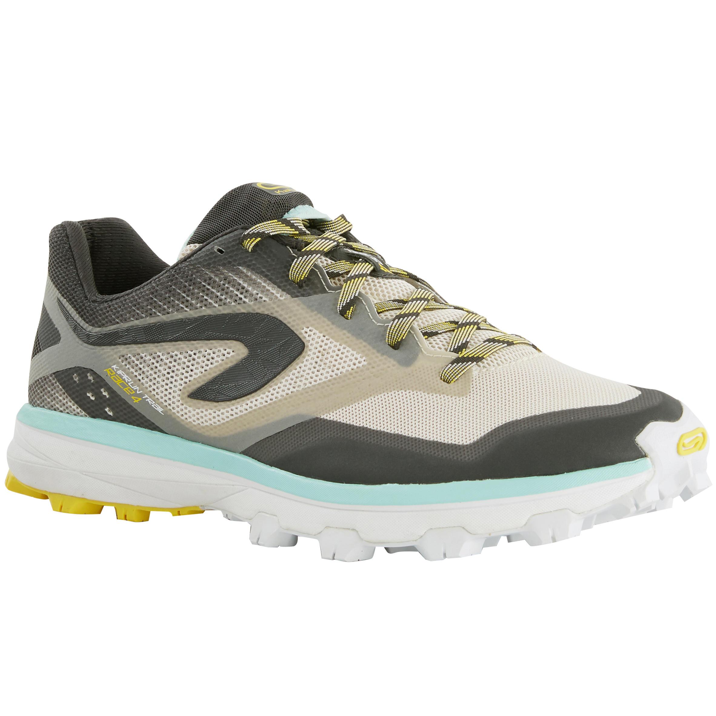 Kalenji Trailschoenen voor dames Kiprun Race 4 grijs geel