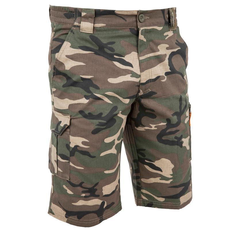 500 woodland camouflage Bermuda hunting shorts, green