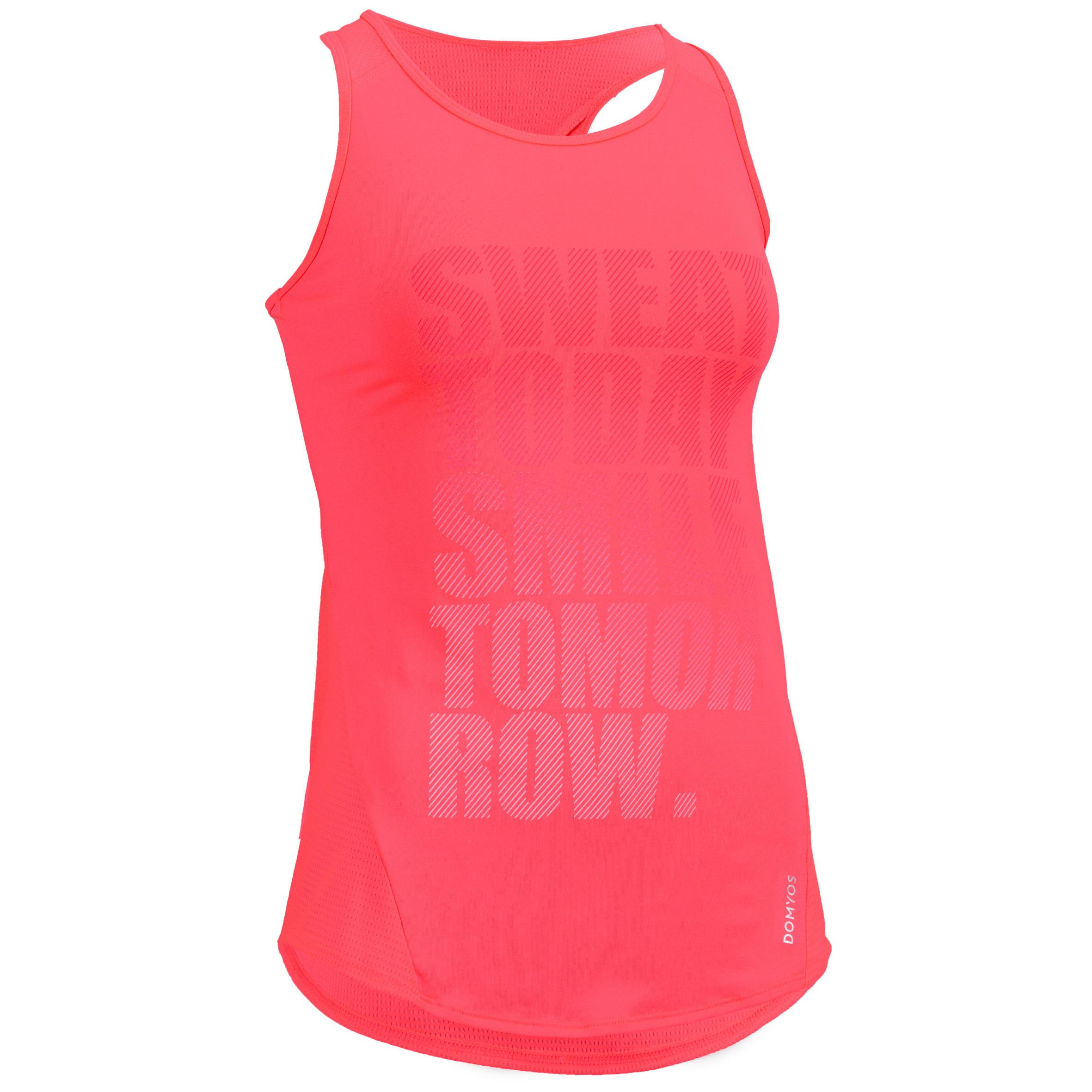 Camiseta sin mangas cardio fitness mujer rosa estampado 120