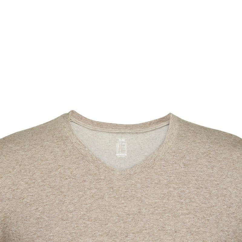 500 Slim-Fit V-Neck Pilates & Gentle Gym T-Shirt - Mottled Brown