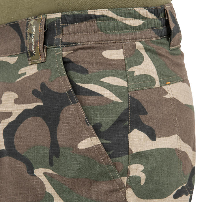 500 woodland camouflage Bermuda hunting shorts, green