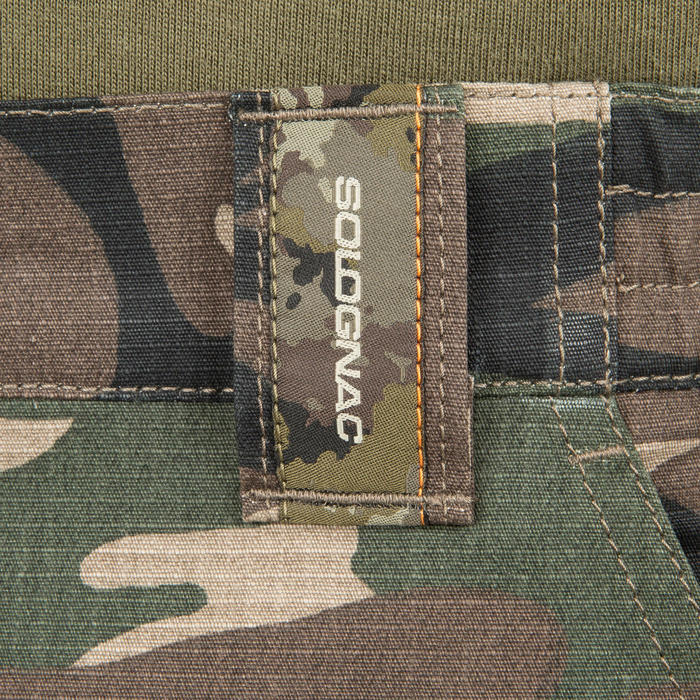 Bermuda Caza Solognac SG 500 Camuflaje Woodland Verde