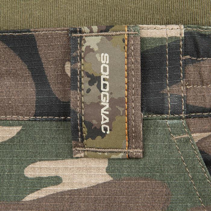 Bermudashorts 500 Woodland Camouflage grün