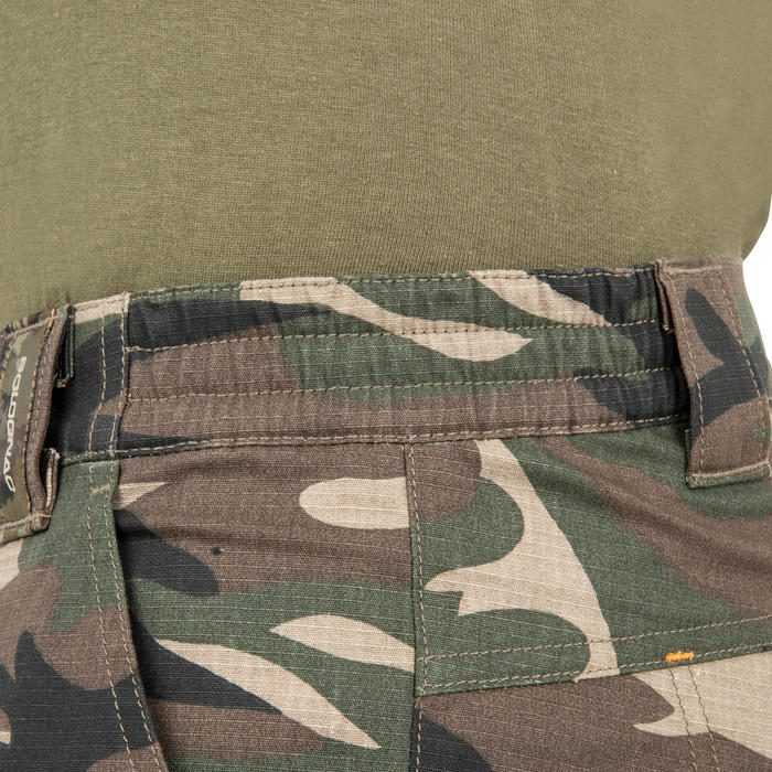百慕達狩獵短褲500林地迷彩-綠色