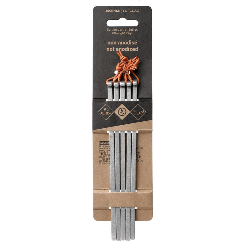 Non-anodised Ultralight Pegs for Trekking Tents (x5)