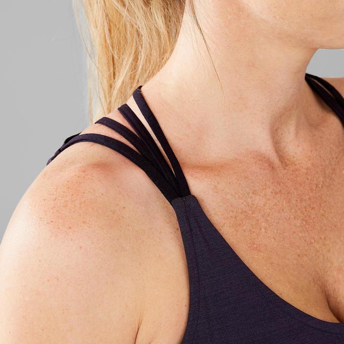 Damestop met gekruiste bandjes voor dans-workouts zwart