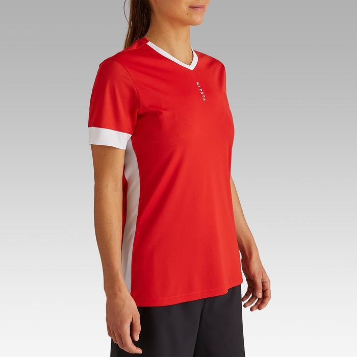 Maillot de football femme F500 rouge blanc