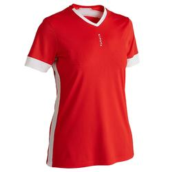 Camiseta Manga Corta Fútbol Kipsta F500 Mujer Rojo Blanco