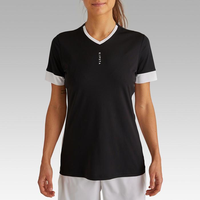 女款足球上衣F500-黑色/白色