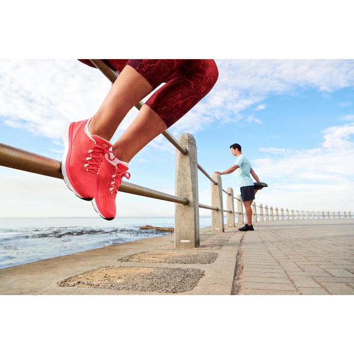CHAUSSURES JOGGING FEMME RUN SUPPORT CORAIL