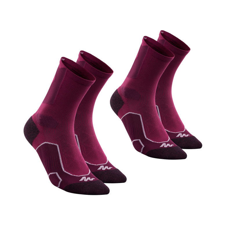 HIKING SOCKS Hiking - MH 500 HIGH X2 - PURPLE QUECHUA - Outdoor Shoe Accessories