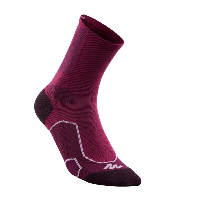 Chaussettes de randonnée montagne tiges high. 2 paires MH 500 violet prune